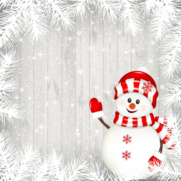 Christmas background with white branches and snowman on old white wooden background. Christmas background with white branches and snowman on old white wooden background. snowman stock illustrations
