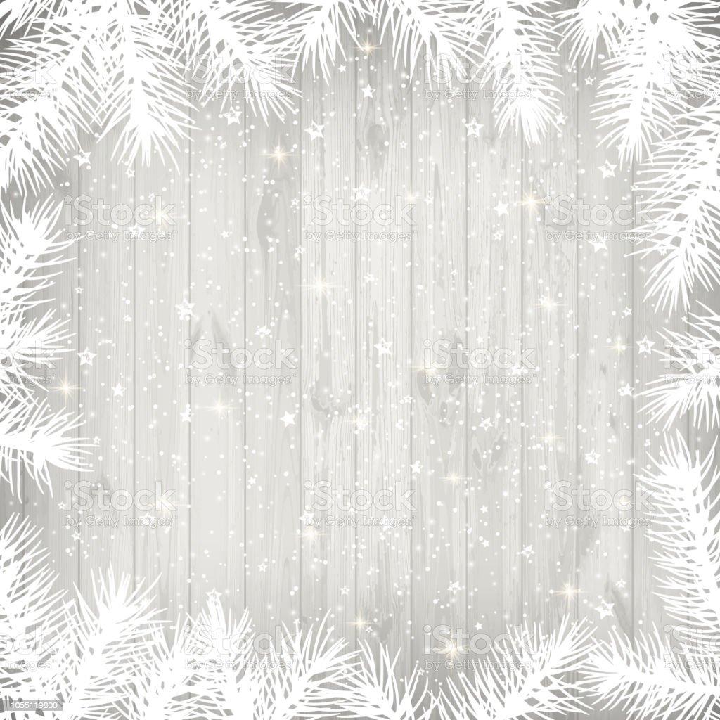 Hintergrund Weihnachten.Weihnachten Hintergrund Mit Weissen Zweige Und Sternen Auf Alten Weissen Holzernen Hintergrund Stock Vektor Art Und Mehr Bilder Von Abstrakt