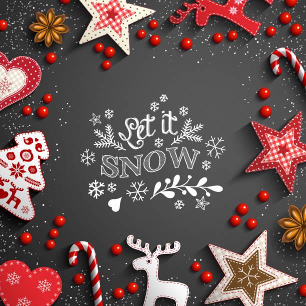 ilustraciones, imágenes clip art, dibujos animados e iconos de stock de fondo de navidad con garabatos blancos y decoraciones - adviento
