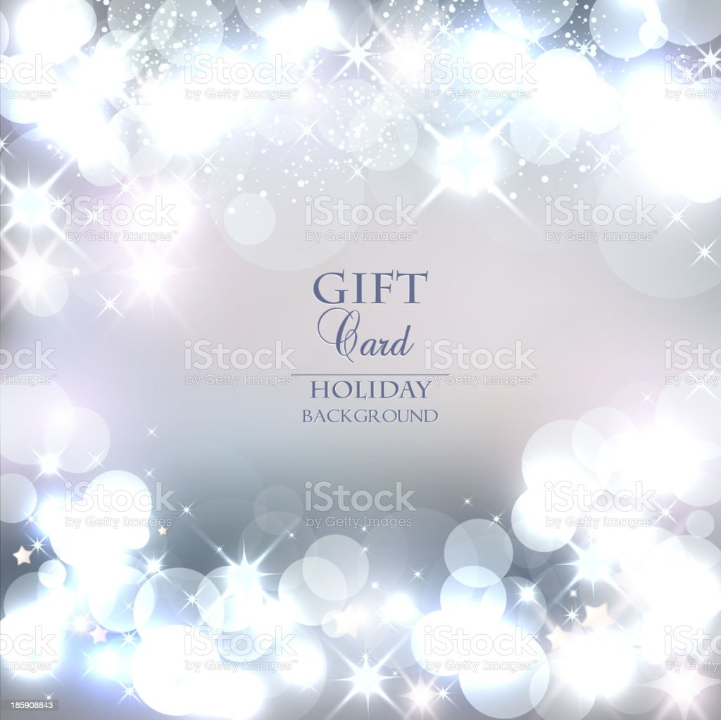 Christmas background with white lights and snow vector art illustration