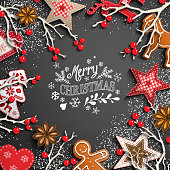 Christmas theme with white chalk lettering, rustic decorations and text Merry Christmas on black background, vector illustration, eps 10 with transparency and gradient mesh.