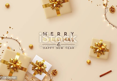 istock Christmas Background. Xmas design of sparkling lights garland, with realistic gifts box, glitter gold confetti. Happy New Year poster, greeting card, banner. Design Flat top view. Holiday composition 1287047431