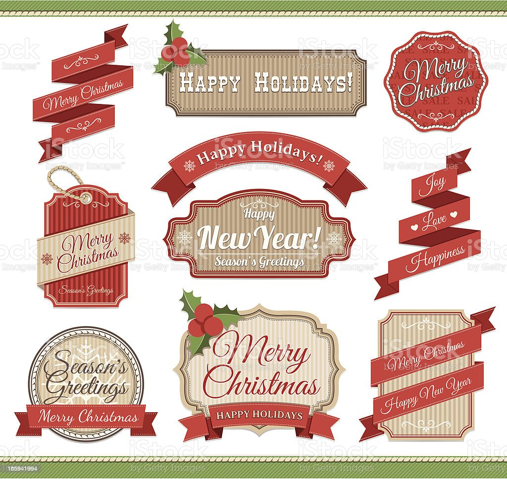Christmas badge set in red and green royalty-free christmas badge set in red and green stock vector art & more images of badge