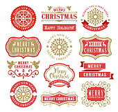 Vector illustration of the christmas badges set