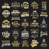 Merry Christmas and Happy New Year typography designs set on black background. Vector badges, logo, emblems, text design. Easy for edit and use. Usable for banners, greeting cards, gifts etc.
