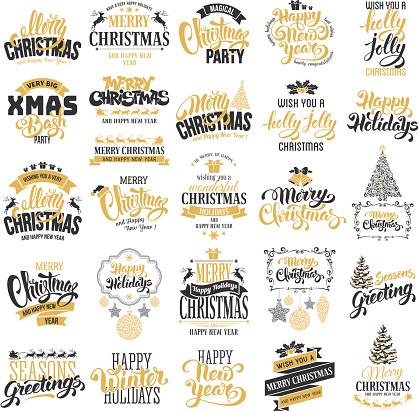 Christmas badges set
