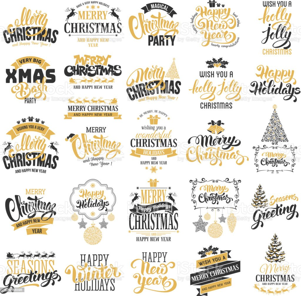 Christmas badges set vector art illustration