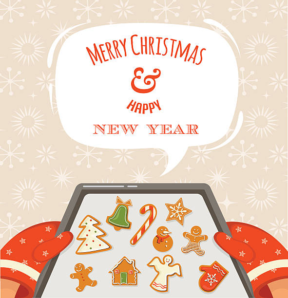 christmas bakery gingerbread cookies - plätzchenteig stock-grafiken, -clipart, -cartoons und -symbole
