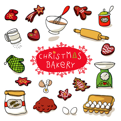Christmas bakery with gingerbread - decorative for horizontal banners and cards