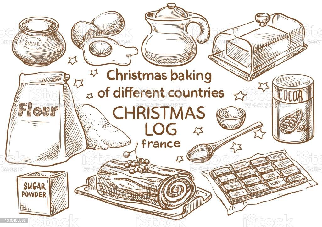 Christmas baking. Ingredients.Christmas log.Frace vector art illustration