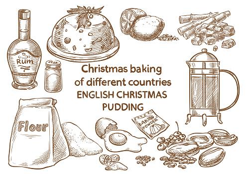 Christmas baking. Ingredients.English christmas pudding.England