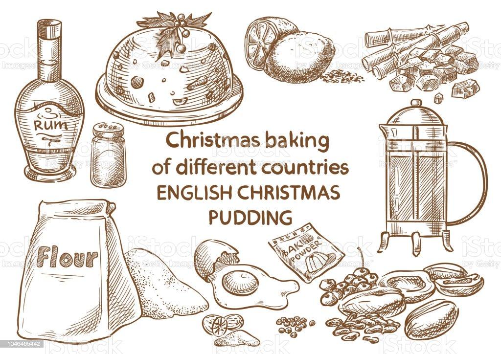 Christmas baking. Ingredients.English christmas pudding.England vector art illustration