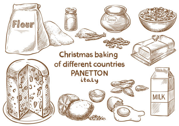 illustrazioni stock, clip art, cartoni animati e icone di tendenza di christmas baking. ingredients.panetton.italy - panettone