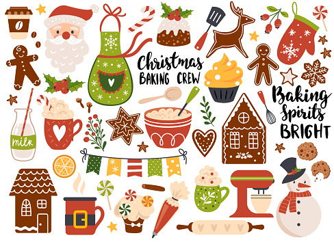 Christmas baking, Set of festive gingerbread cookies and holiday drinks. Vector illustration. Perfect for sticker kit, scrapbooking, greeting card, party invitation, poster, tags