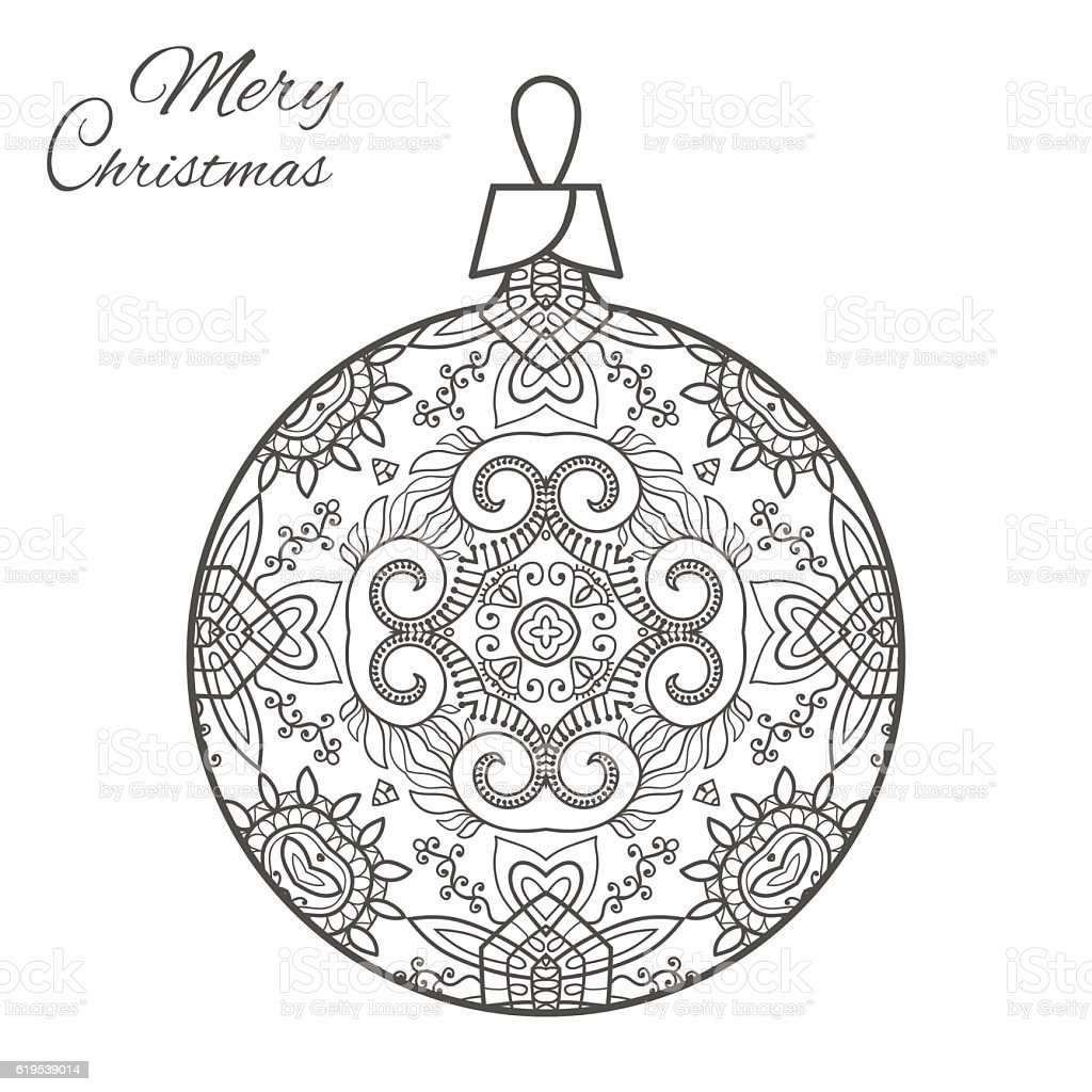 christmas ball art for adult coloring book page stock
