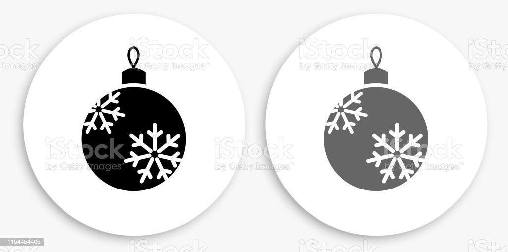 Boule De Noël Noir Et Blanc Icône Ronde Vecteurs Libres De