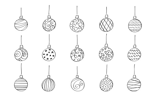 Vector holiday symbols isolated on white background. Cartoon color illustration.