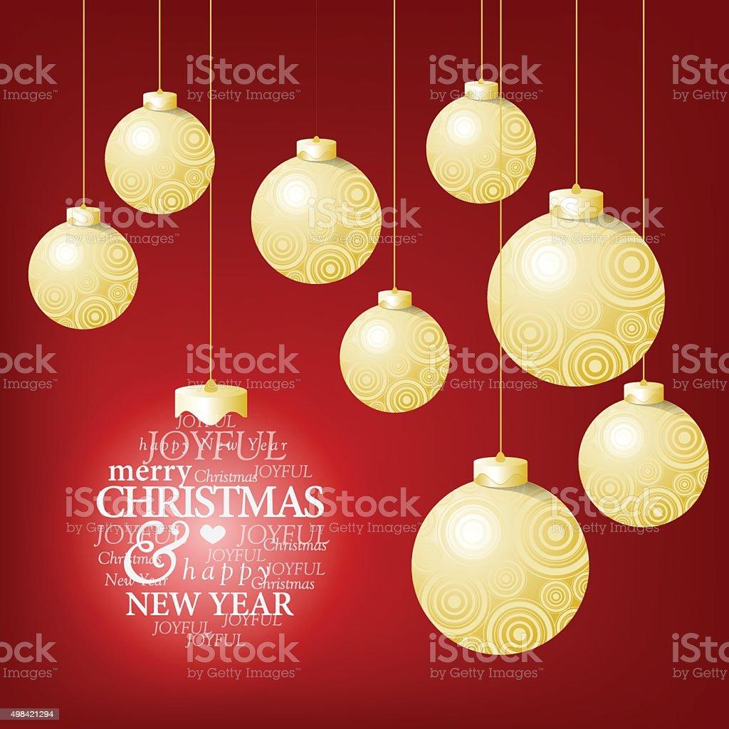 Christmas Ball Und Einen Glücklich Gruß Nachricht Vektor ...