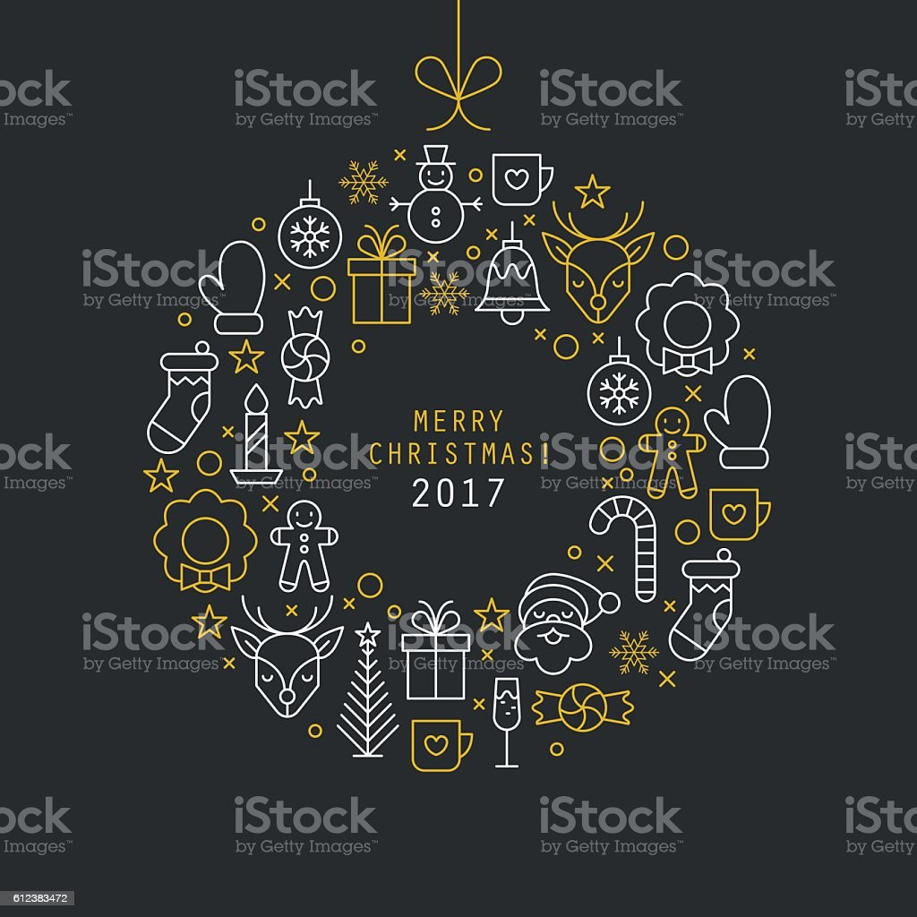 Christmas ball design with thin line icons. Vector illustration vektör sanat illüstrasyonu