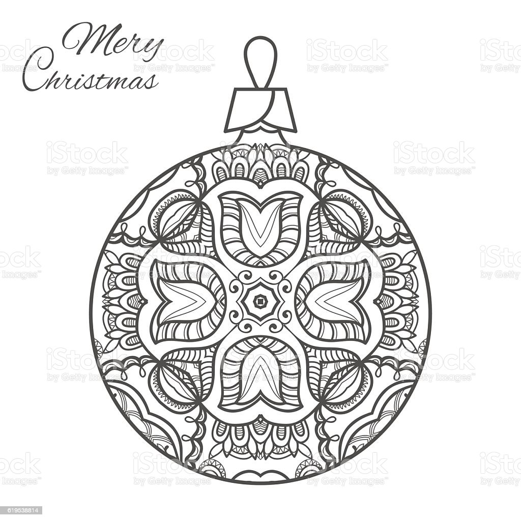 Christmas Ball Zen Doodle Art For Adult Coloring Book Page Royalty Free Stock Vector