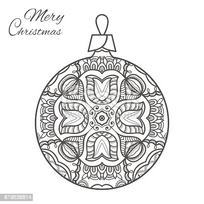 Christmas Ball Zendoodle Art For Adult Coloring Book Page Stock Vector 619538814