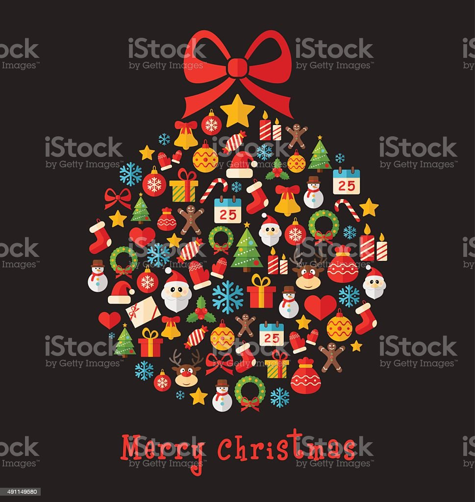 Christmas Ball - Greeting Card Illustration vector art illustration