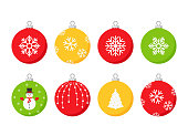 Christmas ball icon. Vector.Set holiday symbols isolated on white background in flat design. Cartoon color illustration.