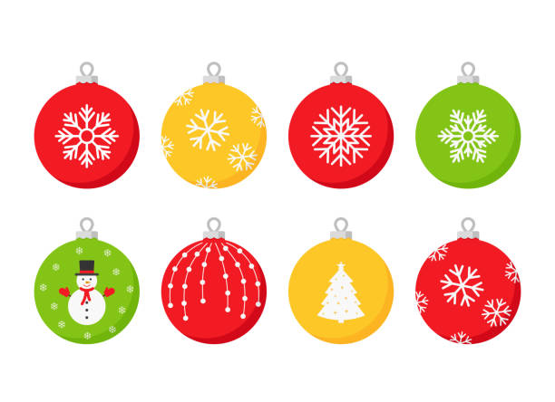 Christmas ball icon. Vector illustration in flat design. Christmas ball icon. Vector.Set holiday symbols isolated on white background in flat design. Cartoon color illustration. christmas ornament stock illustrations