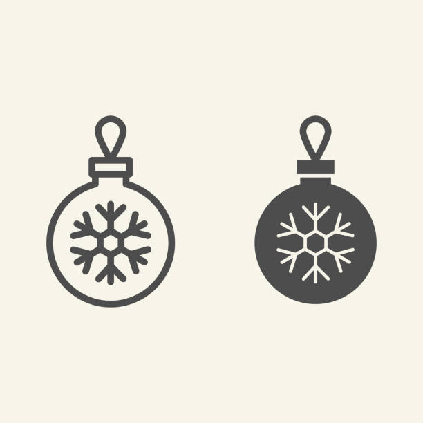 Christmas ball line and solid icon. Glass tree toy with snowflake outline style pictogram on white background. Decoration ball for firtree for mobile concept and web design. Vector graphics. Christmas ball line and solid icon. Glass tree toy with snowflake outline style pictogram on white background. Decoration ball for firtree for mobile concept and web design. Vector graphics winter weather clip art stock illustrations