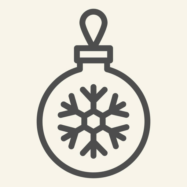 Christmas ball line icon. Glass tree toy with snowflake outline style pictogram on white background. Decoration ball for firtree for mobile concept and web design. Vector graphics. Christmas ball line icon. Glass tree toy with snowflake outline style pictogram on white background. Decoration ball for firtree for mobile concept and web design. Vector graphics winter weather clip art stock illustrations