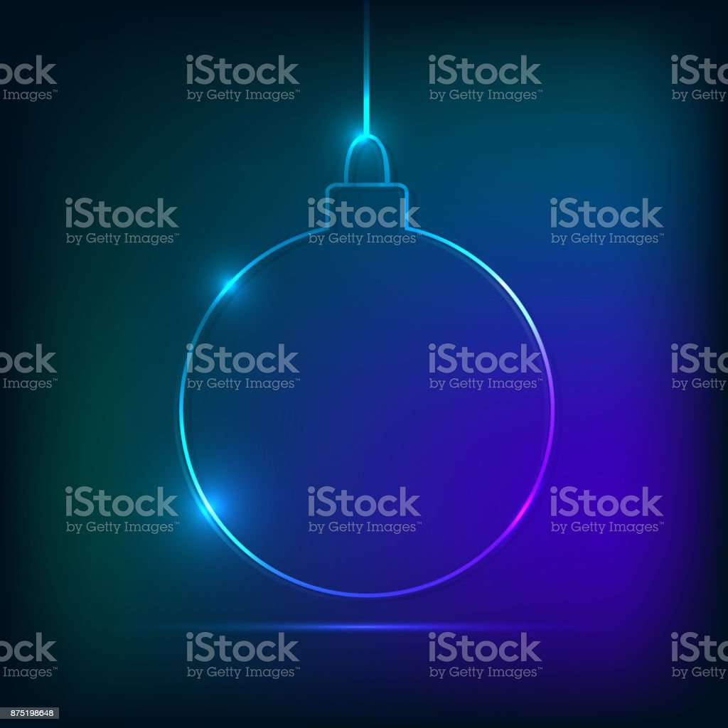 Christmas ball neon style vector art illustration