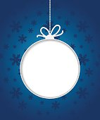 Christmas ball on blue background with snowflakes.