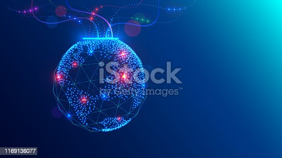 istock Christmas ball on close up tree in electronic, communication technology style. Global internet, network concept illustration. Tech digital template of greeting card happy new year, merry christmas. 1169136077