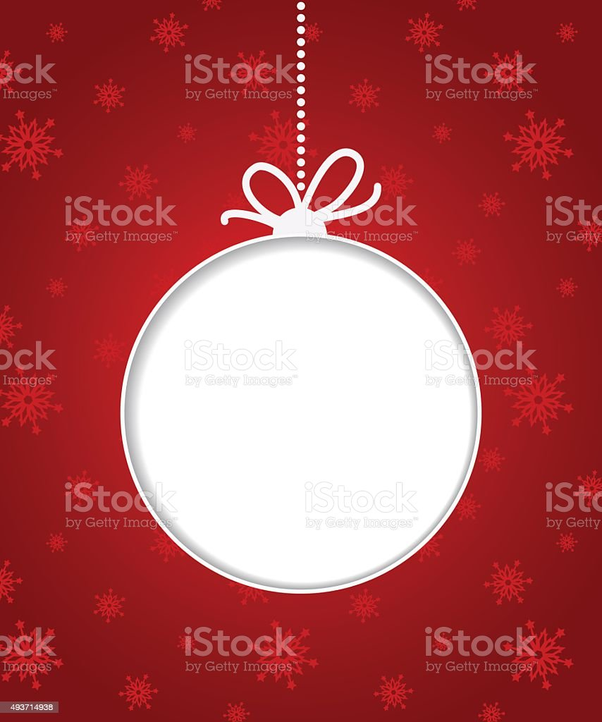 Christmas ball on red background with snowflakes. vector art illustration