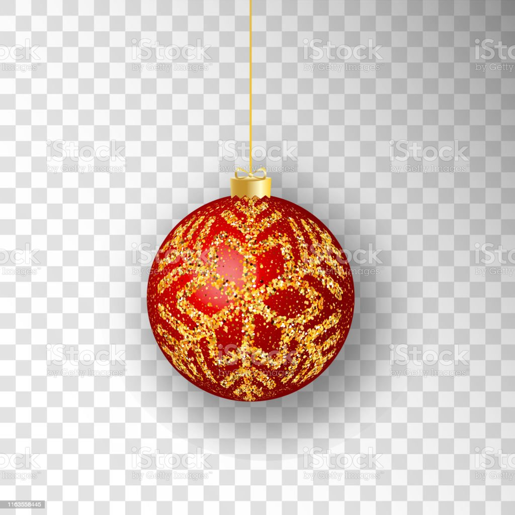 Christmas ball. Red Christmas ball isolated on transparent...