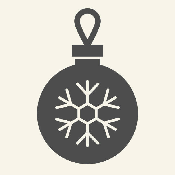 Christmas ball solid icon. Glass tree toy with snowflake glyph style pictogram on white background. Decoration ball for firtree for mobile concept and web design. Vector graphics. Christmas ball solid icon. Glass tree toy with snowflake glyph style pictogram on white background. Decoration ball for firtree for mobile concept and web design. Vector graphics winter weather clip art stock illustrations