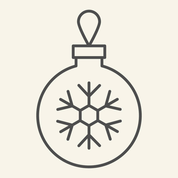 Christmas ball thin line icon. Glass tree toy with snowflake outline style pictogram on white background. Decoration ball for firtree for mobile concept and web design. Vector graphics. Christmas ball thin line icon. Glass tree toy with snowflake outline style pictogram on white background. Decoration ball for firtree for mobile concept and web design. Vector graphics winter weather clip art stock illustrations