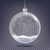 Christmas Ball Vector. Classic Xmas Tree Glass Decoration Element. Shining Snow, Snowflake. 3D Realistic. Isolated On Transparent Background Illustration