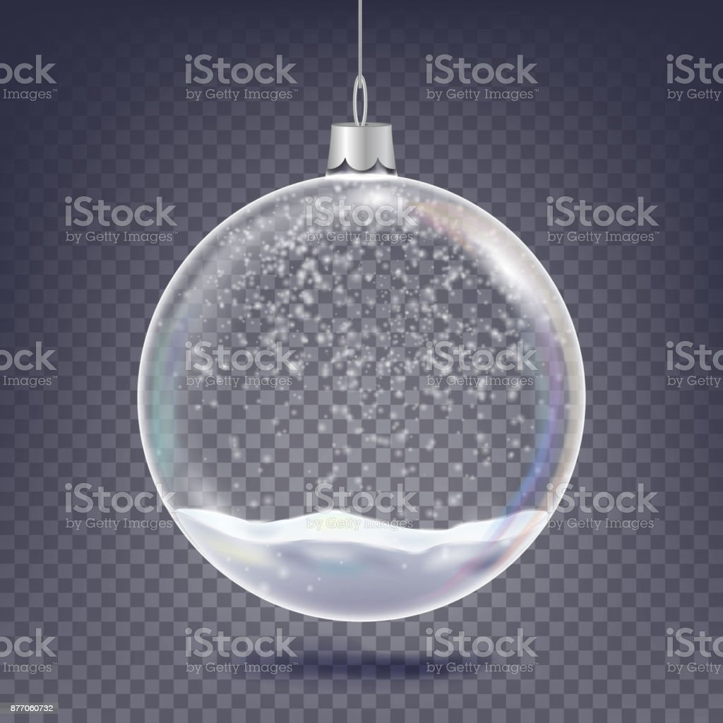 Christmas Ball Vector. Classic Xmas Tree Glass Decoration Element. Shining Snow, Snowflake. 3D Realistic. Isolated On Transparent Background Illustration vector art illustration