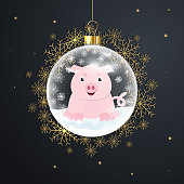 Christmas ball with a pig inside. Snow globe with golden snowflakes on black background. Vector illustration