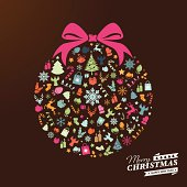 Christmas decoration ball with colourful icons. Text and design elements are on different layers, grouped.  Aics3 and Hi-res jpg files are also included.