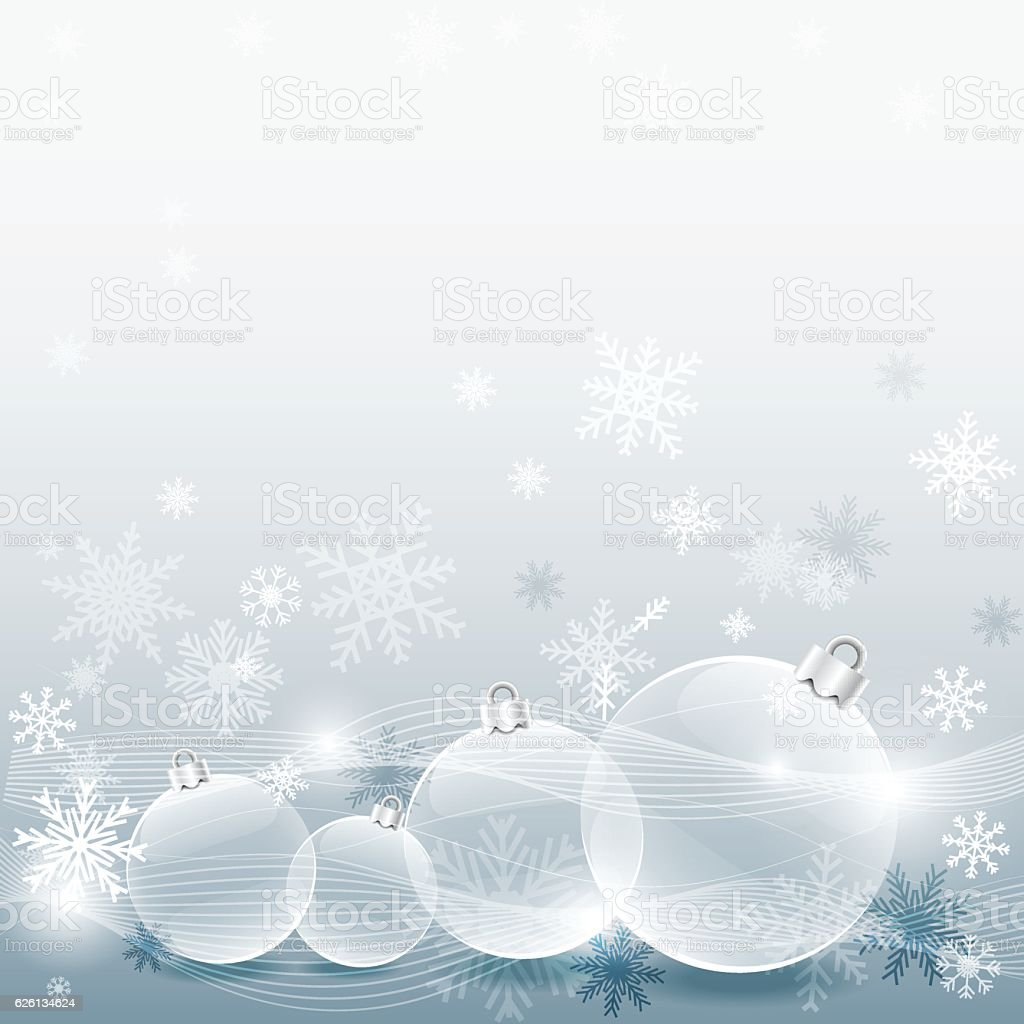 Christmas ball with decorated snowflake silver background vector art illustration