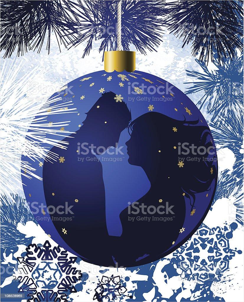 クリスマスボールキスカップル のイラスト素材 108528965 | istock