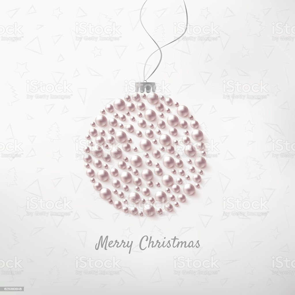 Christmas ball with pearl vector art illustration