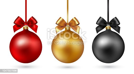istock Christmas ball with ribbon and bow on white background. Vector illustration. 1047507596