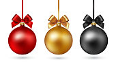 Set of Christmas baubles with ribbon and a bow on white background. Vector illustration. Gold, black and red color