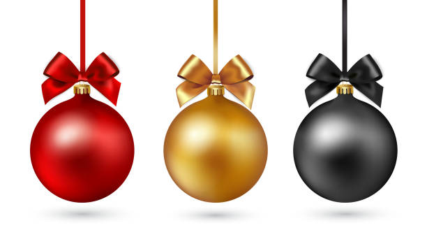 Christmas ball with ribbon and bow on white background. Vector illustration. Set of Christmas baubles with ribbon and a bow on white background. Vector illustration. Gold, black and red color christmas ornament stock illustrations