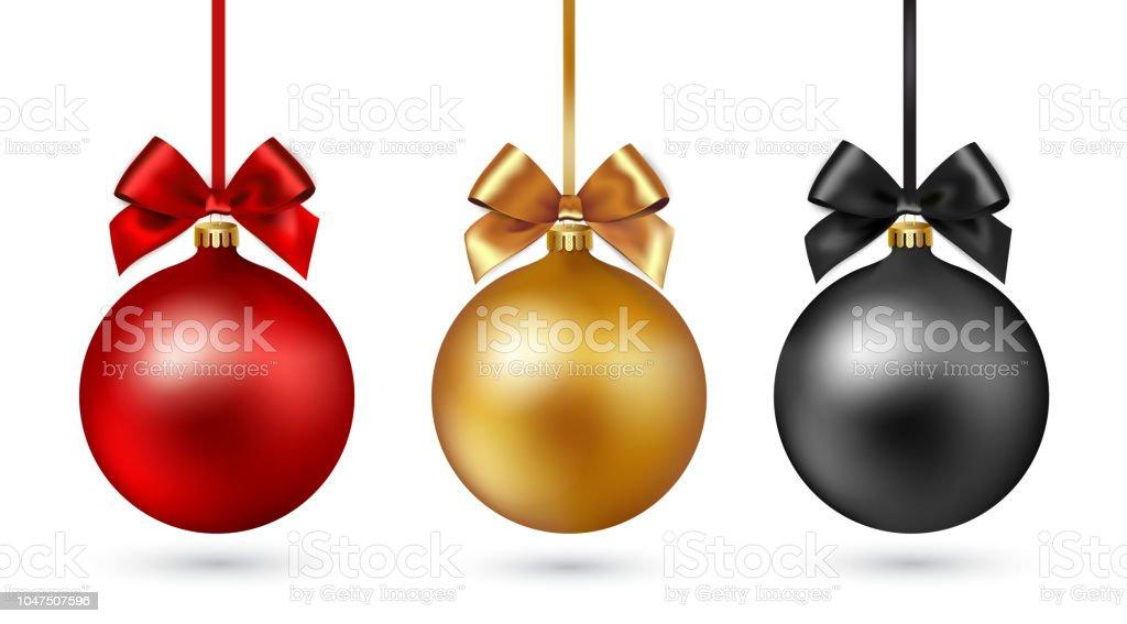 Bola de Navidad con cinta y arco sobre fondo blanco. Ilustración de vector. - ilustración de arte vectorial