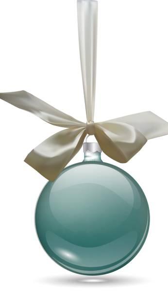 christmas ball with ribbon vector art illustration - Glass Christmas Balls