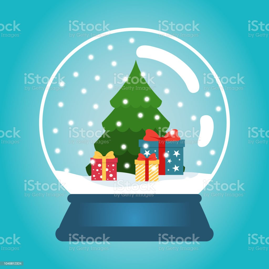 Christmas ball with snow and a Christmas tree. Snow globe with gift...